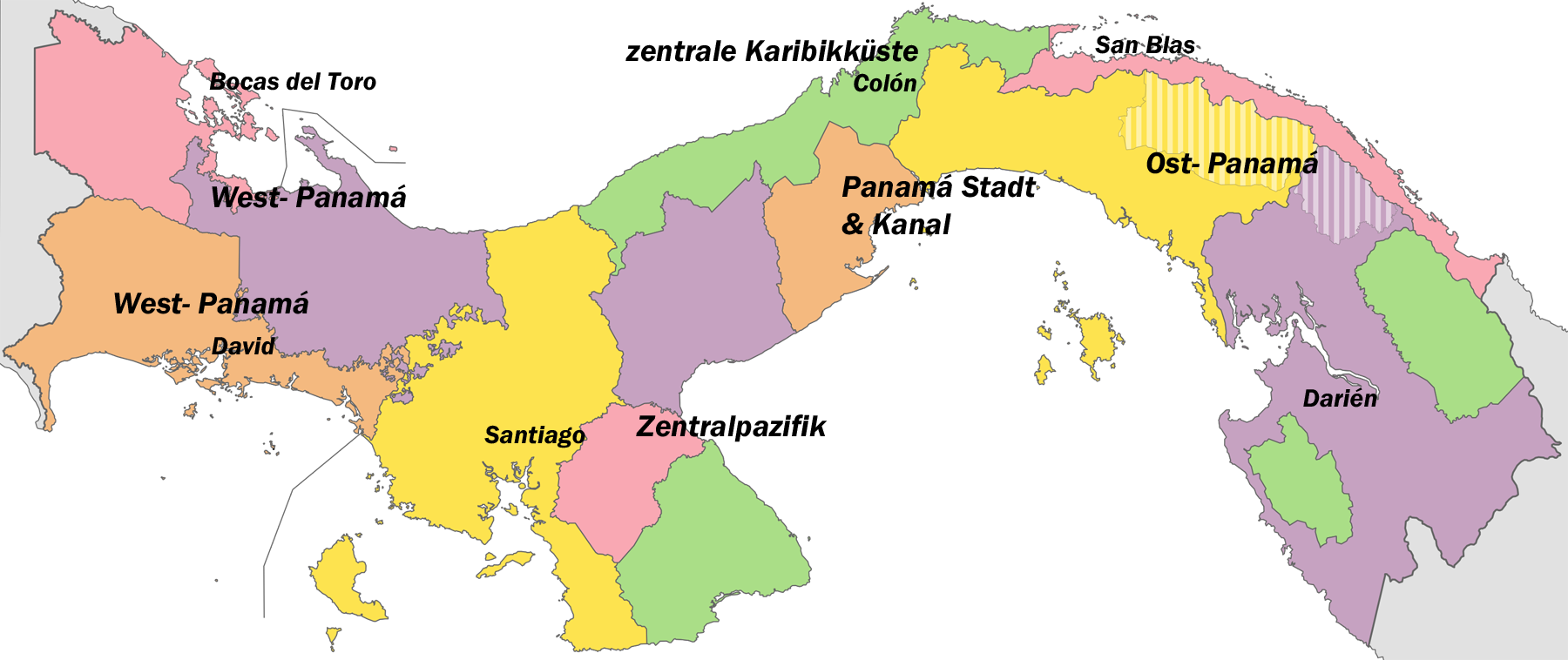 Region S Karte.The Five Regions Of Panama